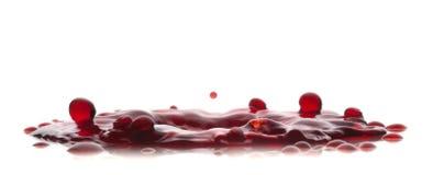 Röd flytandefärgstänk på vit en backround Arkivfoto