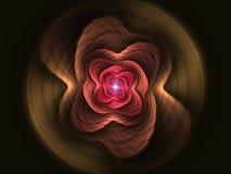 Röd form för abstrakt blommafractal Arkivbild