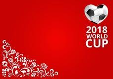 Röd fotbollbakgrund för 2018 världscup Arkivfoton