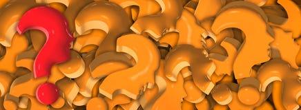 Röd frågefläck i tecken med orange frågefläckar för oändlig bakgrund som bildar mänskliga framsidor i profil illustration 3d royaltyfri illustrationer
