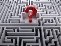 Röd frågefläck inom labyrintlabyrinten Arkivfoton
