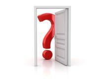 Röd frågefläck med den vita öppna dörren royaltyfri illustrationer