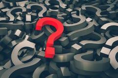 Röd frågefläck på bakgrund av svarta frågefläckar royaltyfri illustrationer