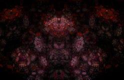 Röd fractalmodell på tillbaka bakgrund Fantasifractaltextur digital röd twirl för abstactkonst djupt framförande 3d dator frambra vektor illustrationer