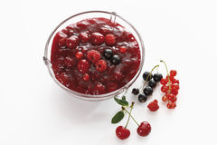 Röd fruktgelé i bunke Royaltyfri Bild