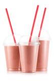 Röd fruktsmoothie i format tre av den älsklings- koppen arkivfoto