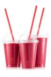 Röd fruktsmoothie i format tre av den älsklings- koppen royaltyfria foton