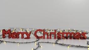 Röd fryst text för glad jul Arkivbild
