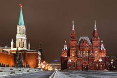 röd fyrkant för historiskt moscow museum Arkivfoton