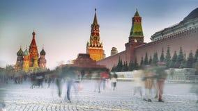 Röd fyrkant med kremlin och St Basil Cathedral, Moskva, Ryssland royaltyfri foto