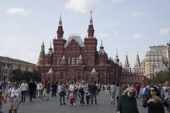 Röd fyrkant och nationellt museum i Moskva Ryssland Arkivfoton
