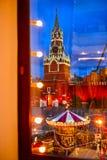 Röd fyrkant på jul Fotografering för Bildbyråer