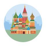 Röd fyrkantig slott i moscow som reser affärsföretag stock illustrationer