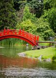 Röd gå bro i japanträdgård Royaltyfri Bild