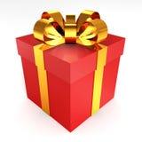 Röd gåva med bakgrund för white för guldbandbowon Royaltyfria Bilder