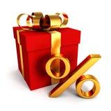 Röd gåvaask med det guld- procenttecknet på white Arkivfoto