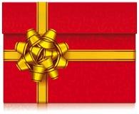 Röd gåvaask med pilbågen Royaltyfri Bild