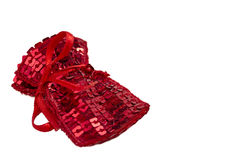 Röd gåvapåse med paljetter Arkivfoton