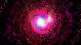 Röd galax och att rotera medurs ljusa runda partiklar vektor illustrationer