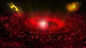 Röd galax och att rotera medurs ljusa runda partiklar stock illustrationer