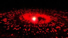 Röd galax och att rotera medurs ljusa runda partiklar royaltyfri illustrationer