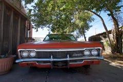 Röd gammal Chevrolet bil under ett träd i Seligman, Arizona Arkivfoton