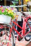 Röd gammal cykel och mjuk fokus för färgrika blommor Arkivfoto