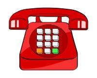 Röd gammal telefon i retro komisk stil för popkonst på vit bakgrund royaltyfri illustrationer