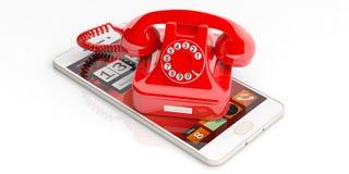 Röd gammal telefon och smartphone på vit bakgrund illustration 3d Royaltyfria Bilder