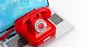 Röd gammal telefon på en bärbar dator illustration 3d Royaltyfria Foton
