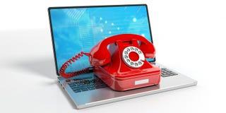 Röd gammal telefon på en bärbar dator illustration 3d Arkivfoton
