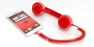 Röd gammal telefonmottagare och smartphone på vit bakgrund illustration 3d Arkivbilder