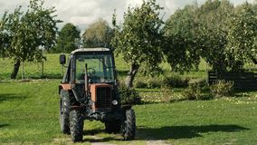 Röd gammal traktor i gårdsplanen som står vid en orkidé arkivfilmer