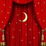 Röd gardin royaltyfri illustrationer