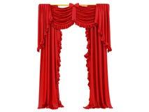 Röd gardin av en teater stock illustrationer