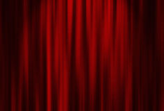 Röd gardin för teater Royaltyfria Foton