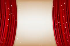 Röd gardin med att skina litet stjärnor och kopieringsutrymme stock illustrationer