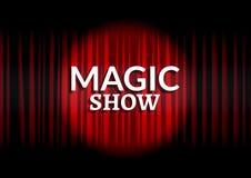 Röd gardin med cirkelljus Magisk design för mall för showbegreppsaffisch royaltyfri illustrationer