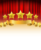 Röd gardin med guld- stjärnor stock illustrationer