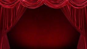 Röd gardin med på röd bakgrund royaltyfri illustrationer