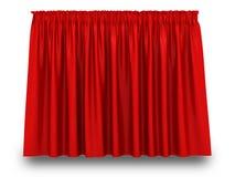 Röd gardin med skugga på vit bakgrund Royaltyfri Bild