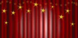 Röd gardin med stjärnor arkivbilder
