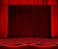 Röd gardin på teateretapp med illustrationen för platser 3d Royaltyfri Bild