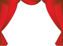 Röd gardinram Arkivfoto