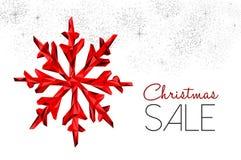 Röd garnering för julförsäljning för vinterrabatt stock illustrationer