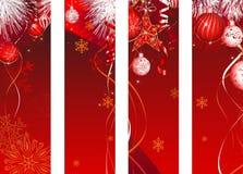 Röd garnering för vertikalt julbaner vektor illustrationer
