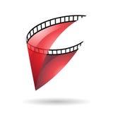 Röd genomskinlig symbol för filmrulle royaltyfri illustrationer