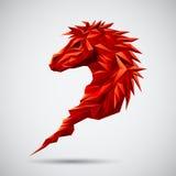 Röd geometrisk häst stock illustrationer