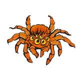 Röd gigantisk spindel för tecknad film Allhelgonaaftontecken tecknad handvektor vektor illustrationer