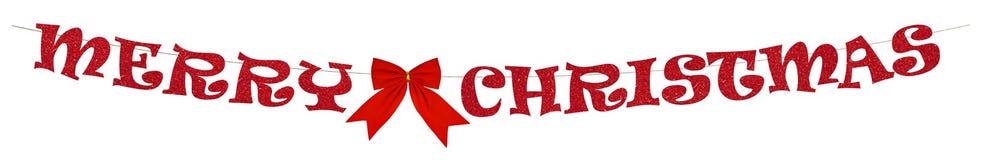 Röd girland för glad jul - royaltyfri fotografi